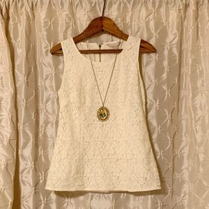 Banana Republic cream lace peplum sleeveless top